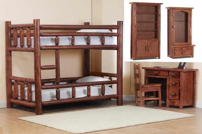 200 Twin Over Twin Log Bunk Bed Group