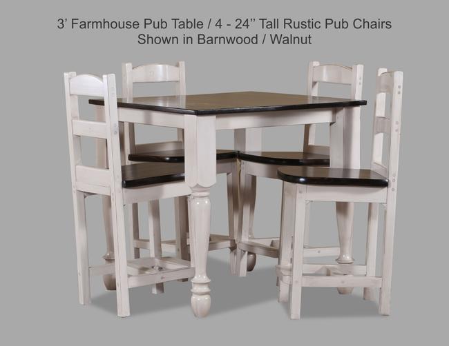 3 Farmhouse Pub Table With 4-24 Tall Rustic Pub Chair Shown In Barnwood-Walnut JPEG