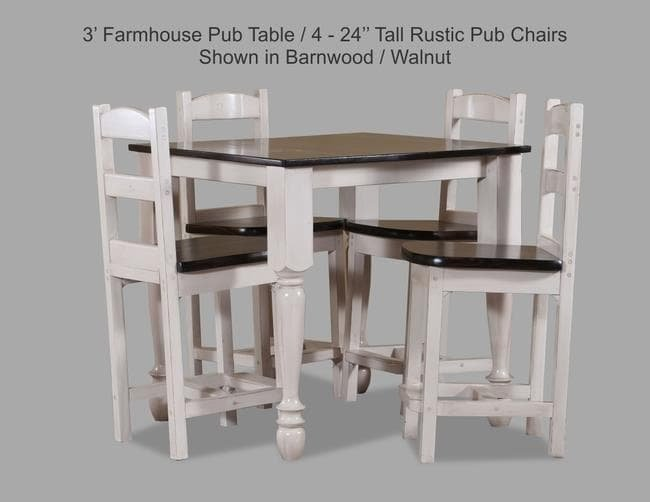 3 Farmhouse Pub Table With 4-24 Tall Rustic Pub Chair Shown In Barnwood-Walnut JPEG