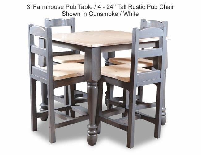 3 Farmhouse Pub Table With 4-24 Tall Rustic Pub Chair Shown In Gunsmoke-White JPEG