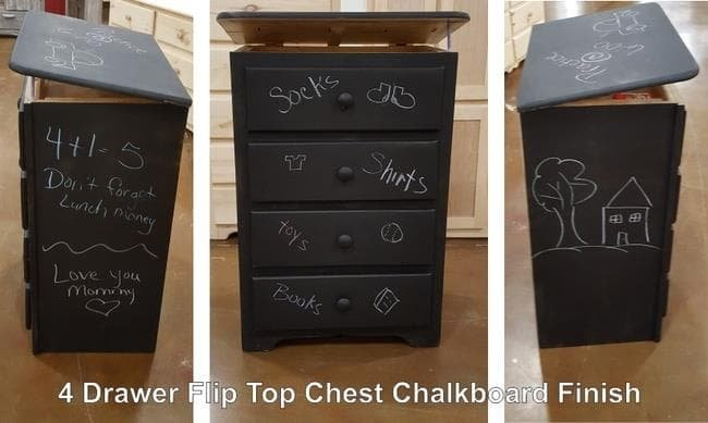 4 Drawer Chest Chalkboard Finish