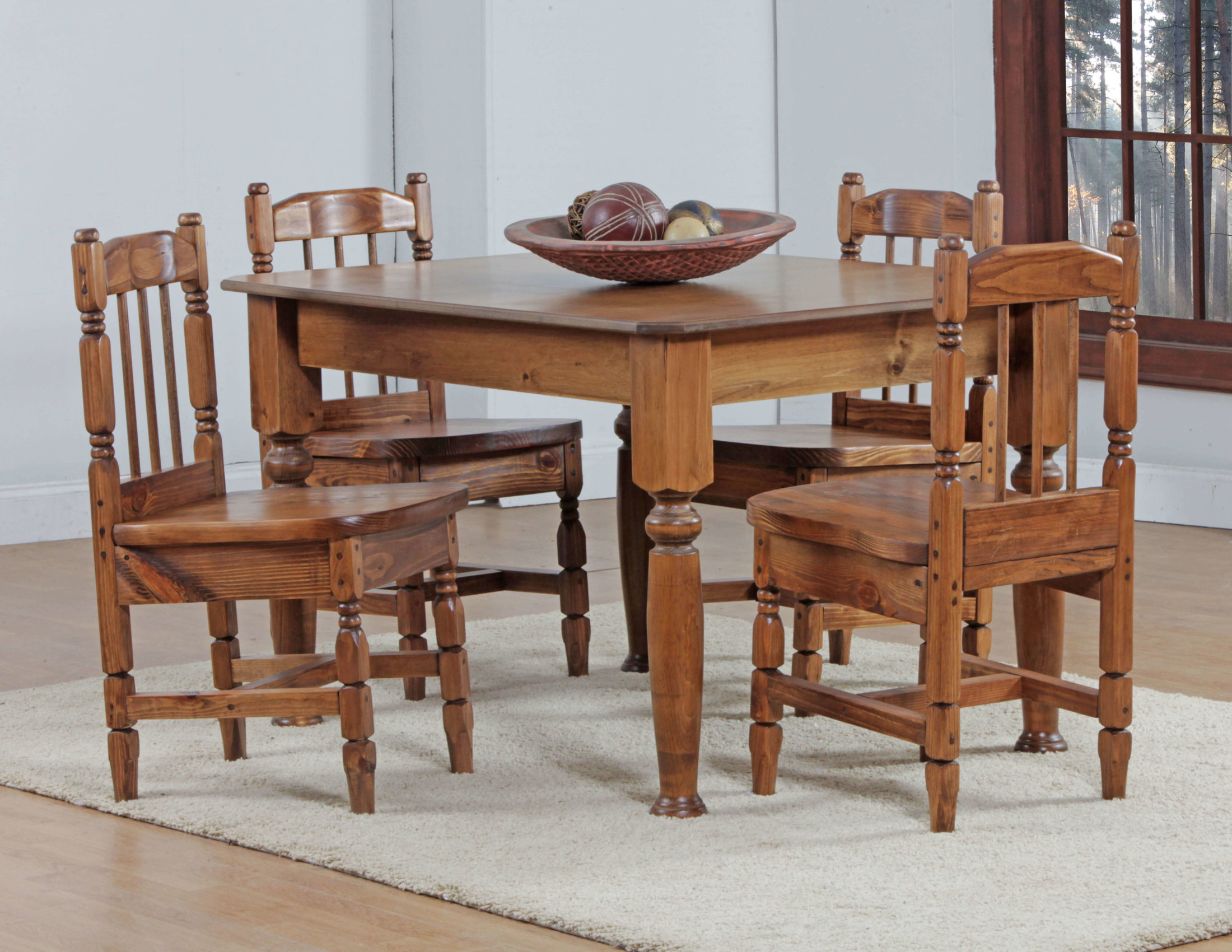 4\' Table With Turned Chairs