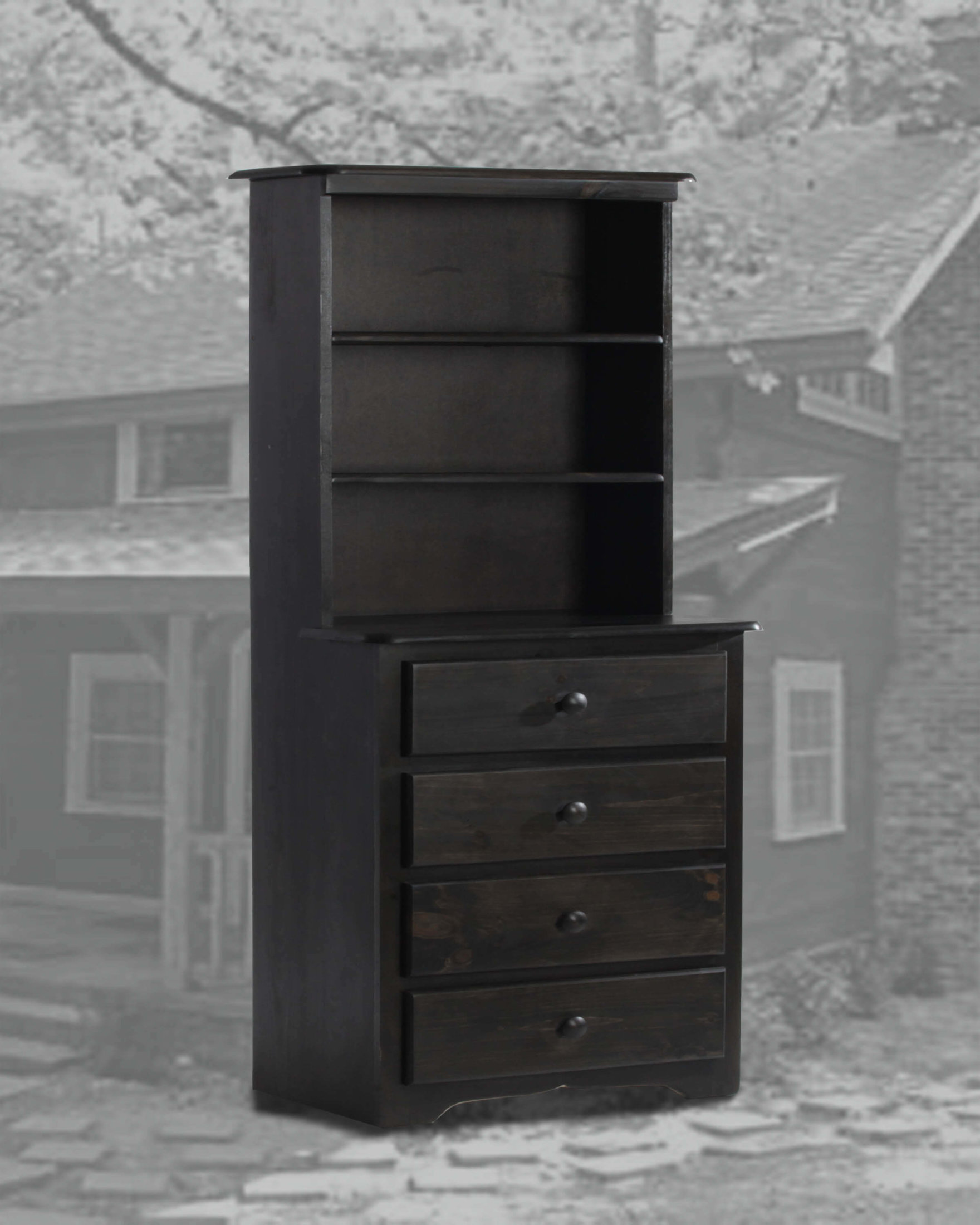 4 Dr Chest With Hutch Black Wash