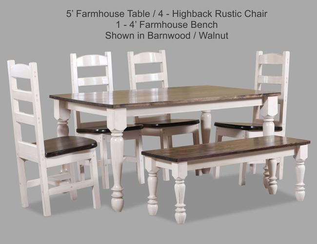 5 Farmhouse Table 4-High Back Rustic Chair 1-4 Farmhouse Bench Shown In Barnwood-Walnut JPEG