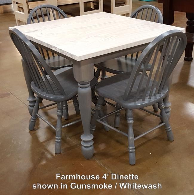 Farmhouse 4 Dinette Gunesmoke Whitewash