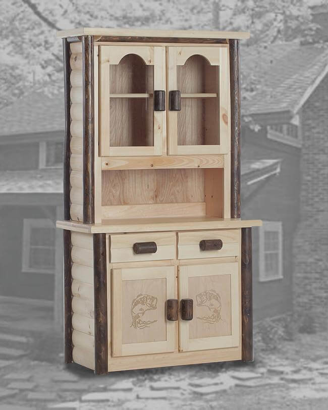 Ranch 2 Door China Hutch In Natural And Walnut