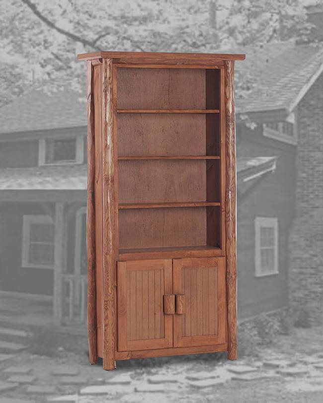 Rustic 6 Bookcase With Doors Pecan