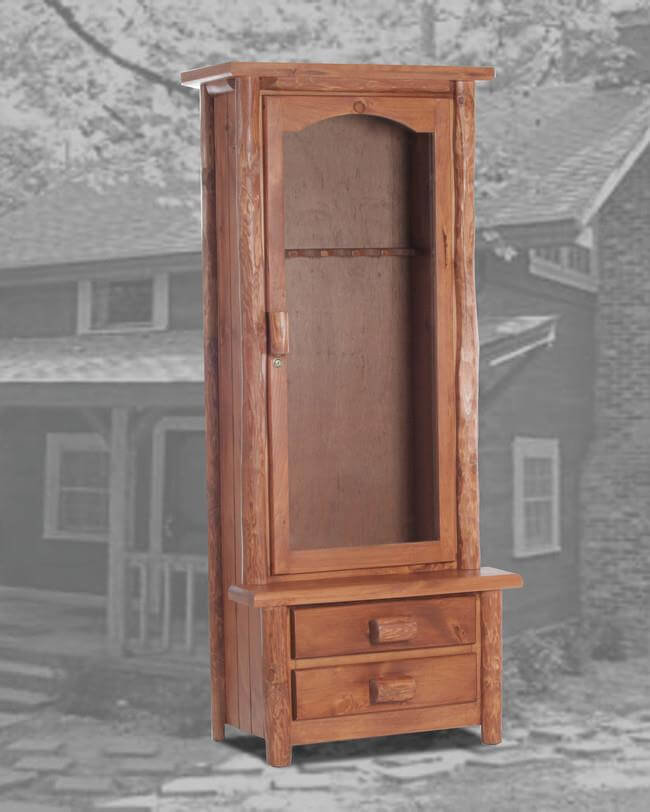 Rustic 6 Gun Cabinet Pecan