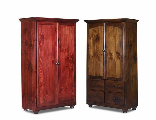Wardrobe Shown In Rosewood And Armoire Shown In Walnut