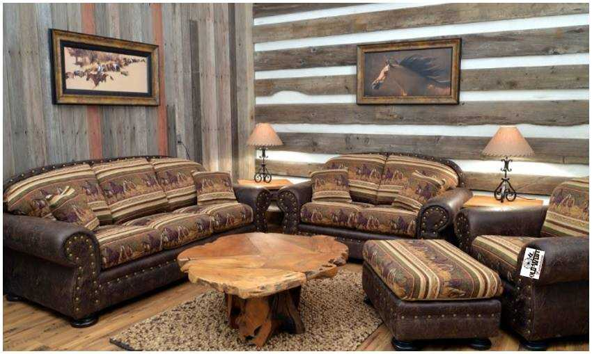 Stationary Living Rooms 1 Rustic Western Style Sofa